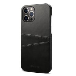 Läderskal med 2 kortplatser till iPhone 12 Pro Max svart