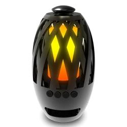 LED-lampa med brinnande flamma och Bluetooth högtalare