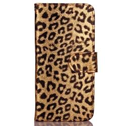 Leopard Läderfodral med kortplats till iPhone 8/7 guld