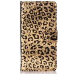 Leopard läderfodral med ställ/kortplats, iPhone 11 Pro Max, g...
