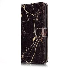 Marmorerat läderfodral med ställ till iPhone 6/6S Plus svart