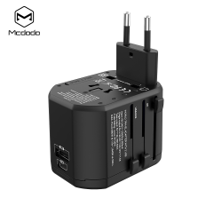 McDodo Reseadapter med snabbladdning, PD, QC3.0, 18W svart