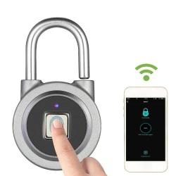 Smart hänglås med fingeravtryck, Bluetooth, grå Silver/Grå
