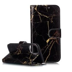 Trendigt läderfodral med ställ, marmor, iPhone 11 Pro Max, sv... svart