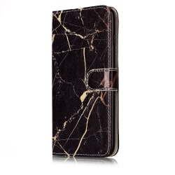 Trendigt marmorfodral med ställ till iPhone 6/6S Svart/Guld