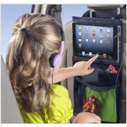 Universal iPad-hållare för bilens baksäte med flera fack svart