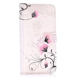Vackert plånboksfodral med blommor, iPhone X/XS rosa