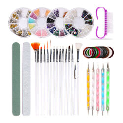 10pcs/set Nail Brush Dotting Pen Polishing Rasp Kit 10pcs