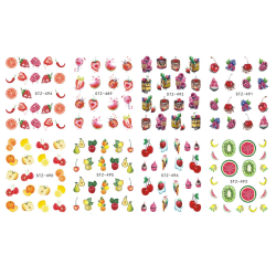 12 Sheets/set Colorful Fruits Nail Art Transfer Sticker as the picture