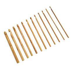 12pcs Bamboo Handle Weave Crochet Hooks Knit Tools 120pcs