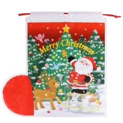 1pc Christmas Drawstring Sock Bag Snowman Deer Pattern Gift Bag as the picture