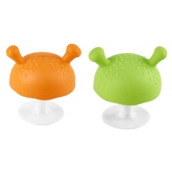 2pcs Mushroom Design Pacifier Baby Teether Silicone Teething Toy 2pcs