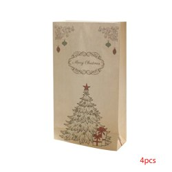 4pcs Kraft Paper Christmas Gift Bag Packaging Cookie Candy Pouch No.5
