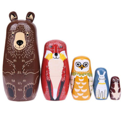 5pcs/set Cute Animal Nesting Stacking Wooden Dolls Matryoshka as the picture