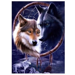 Animal Wolf Head Diamond Painting Rhinestone Home Decoration as the picture