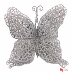 Artificial Butterfly Ornaments Colorful Christmas Decoration sliver