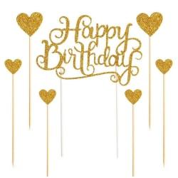 Cake Topper Glitter Letters dekorationskort födelsedagsfest dekor golden