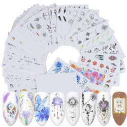 Cartoon Animal Flower Nail Sticker DIY Manicure Sticker random 40pcs