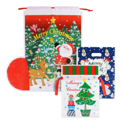 Christmas Drawstring Bags Snowman Deer Pattern Gift Bags as the picture