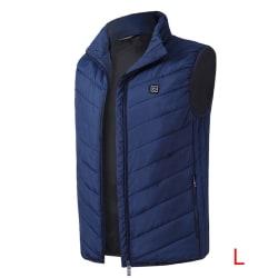 Electric Heated Vest Heating Waistcoat USB Thermal Winter Jacket Blue L