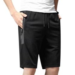 Men Drawstring Casual Shorts Pants Elastic Waist Trousers L