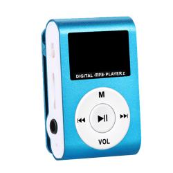 Mini MP3 USB Clip MP3 Player LCD Screen Support Micro SD TF Card blue