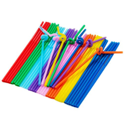 Multicolor Plastic Extra Long Flexible Drinking Bending Straws as the picture