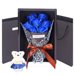 Romantic Valentine's Day Bear Rose Flowers Gift Box Decoration blue