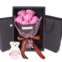 Romantic Valentine's Day Bear Rose Flowers Gift Box Decoration pink