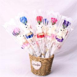 Romantic Valentine's Day Gifts Bear Rose Flower Cartoon Bouquet purple