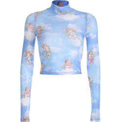Kvinnor Angel Print Mesh Short Top Perspective Långärmad T-shirt blue M
