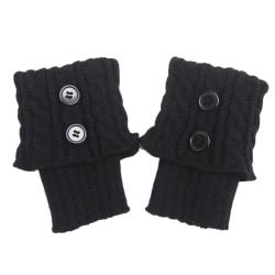 Women Button Crochet Leg Warmers Winter Knit Boot Cuffs Socks black