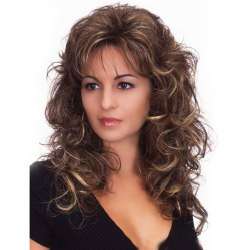 Women Loose Curly Wavy Wigs Long Curly Wig with Thin Fringe as the picture