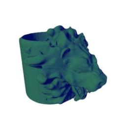 Lejon blomkruka / kruka, Storlek: medium(16 cm hög) Gul one size