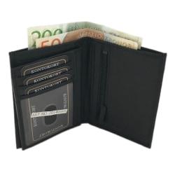 Hög plånbok i äkta skinn Svart one size