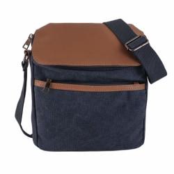 Kanvas axelväska / väska Blå one size