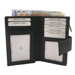 Medelstor plånbok med 18 kortfack Svart one size