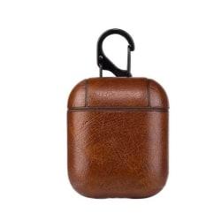 Läder Fodral för Apple Airpods / Airpods 2 - Mörkbrun  Brun one size
