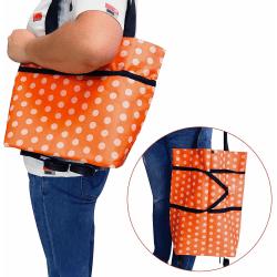 Smart Vikbar Shoppingväska på hjul Orange Vit  Grön one size