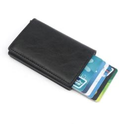 Svart RFID - NFC Skydd Läder Plånbok Korthållare 6st Kort Svart one size
