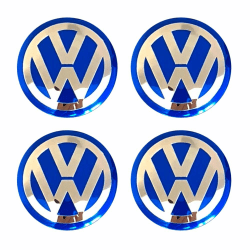 VW03 - 70MM 4-pack Centrumkåpor Volkswagen Silver one size