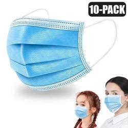 10-Pack- Munskydd - Vuxen / Barn + Extra Spänne - Skydd Mask LightBlue Vuxen