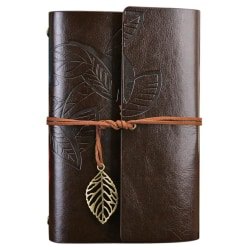 Dagbok / Anteckningsbok 18cm - Retro Läder - Mörkbrun Mörkbrun