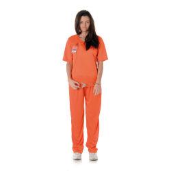 Fånge Dräkt - Orange Tjejfånge Maskeraddräkt - Small