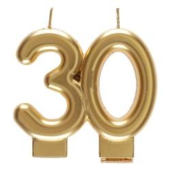 Födelsedagsljus 30 år - Tårtljus Siffra - Guld Guld