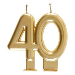 Födelsedagsljus 40 år - Tårtljus Siffra - Guld Guld
