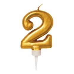 Födelsedagsljus Nr. 2 - Tårtljus Siffra - Guld Guld
