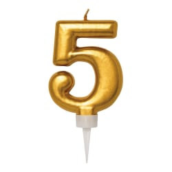 Födelsedagsljus Nr. 5 - Tårtljus Siffra - Guld Guld