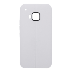 HTC One M9 - TPU Skal / Mobilskal Läder Textur Vit white