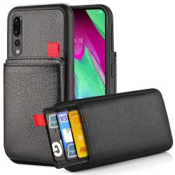 Huawei P20 Pro - Skal / Mobilskal - Dolt Kortfack / Korthållare Svart